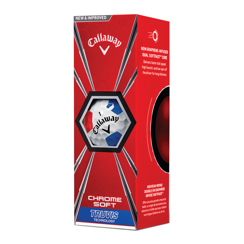Der neue Chrome Soft Truvis White Red Blue Golfball - View 2
