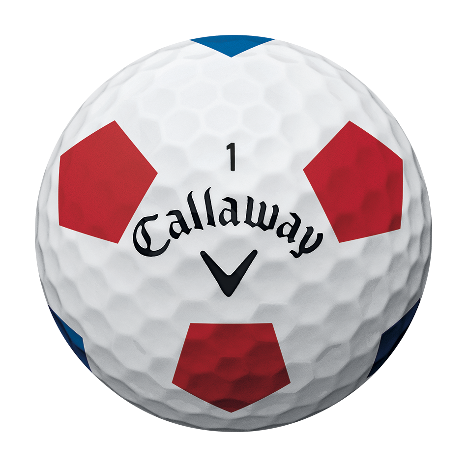 Der neue Chrome Soft Truvis White Red Blue Golfball - View 3