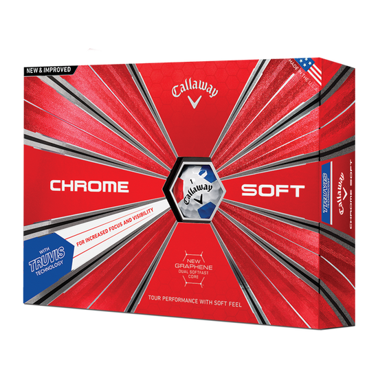 Der neue Chrome Soft Truvis White Red Blue Golfball