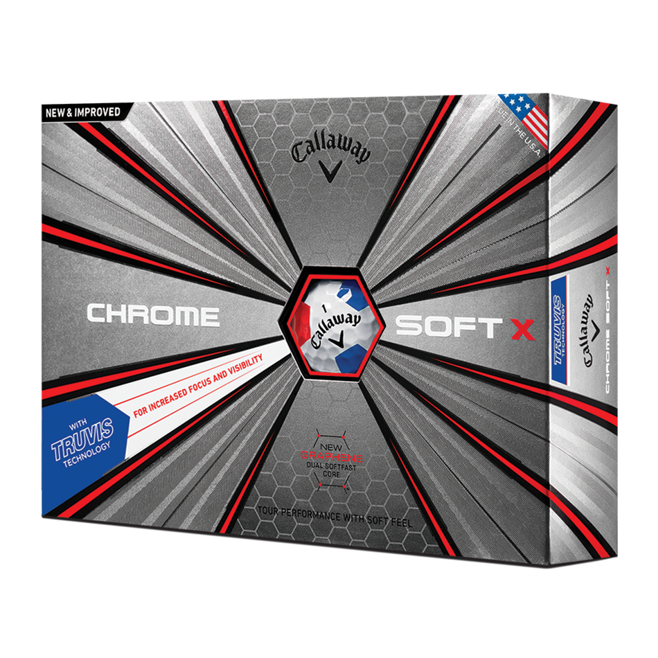 2018 Chrome Soft X Truvis White Red Blue Golf Balls - Featured