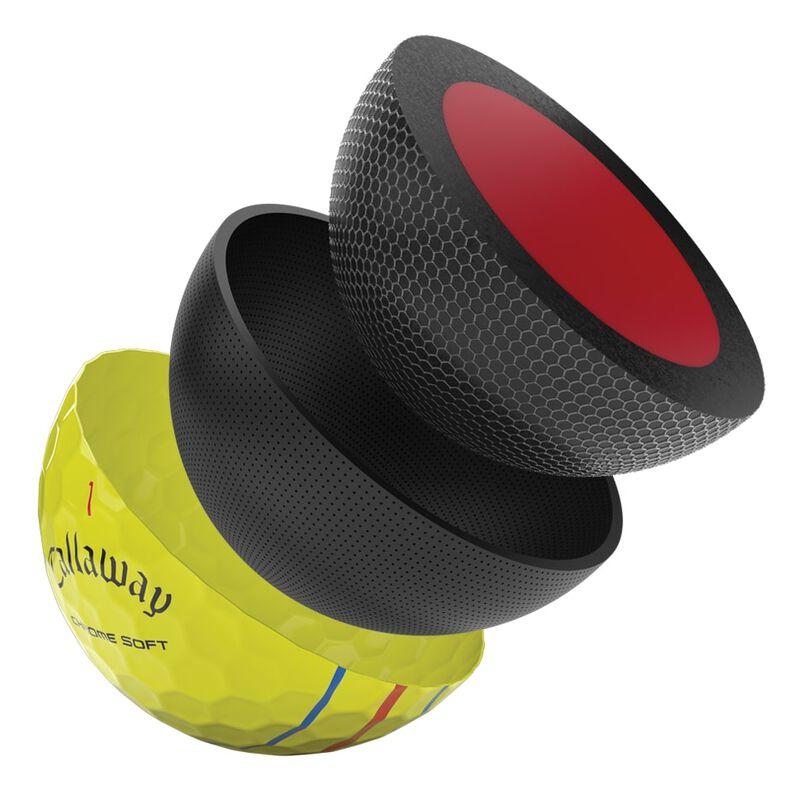 Présentation des balles de golf Chrome Soft Yellow Triple Track 2020 illustration
